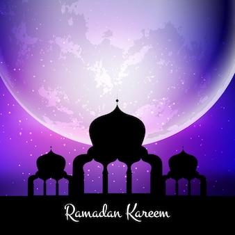 Fundo de ramadan kareem com mesquita contra a lua