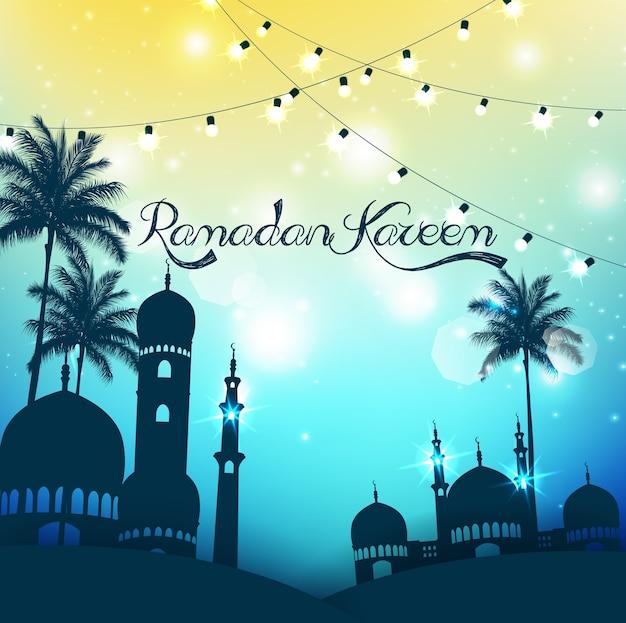 Fundo de ramadan kareem com mesquita e palmeira