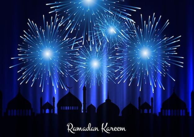 Fundo de ramadan kareem com silhueta de mesquita e fogos de artifício no céu