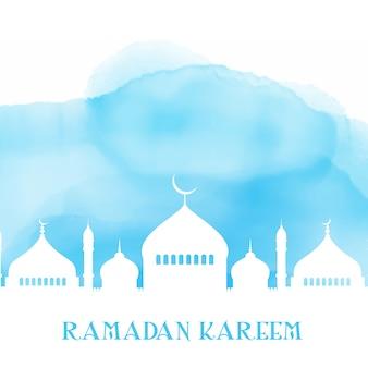 Fundo de ramadan kareem com silhueta de mesquita na textura aquarela