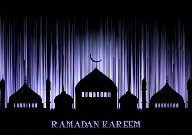 Fundo de ramadan kareem com silhuetas de mesquita
