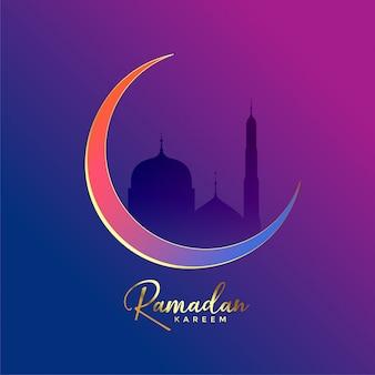Fundo de ramadan kareem de luxo com a lua e a mesquita