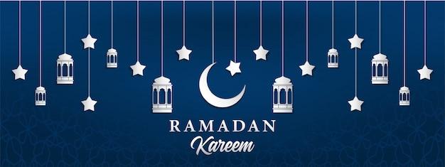 Fundo de ramadan kareem em estilo de artesanato de papel