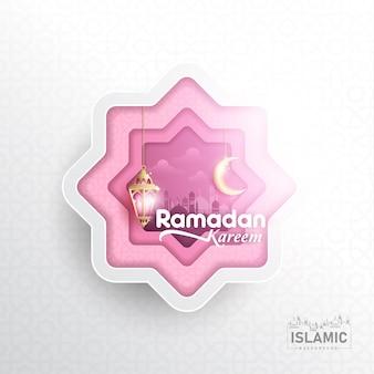 Fundo de ramadan kareem em papel arte ou papel cortado estilo vector