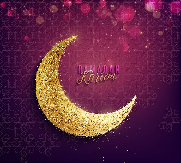 Fundo de ramadan kareem. lua crescente dourada, saudação de letras de texto e efeito de luz.