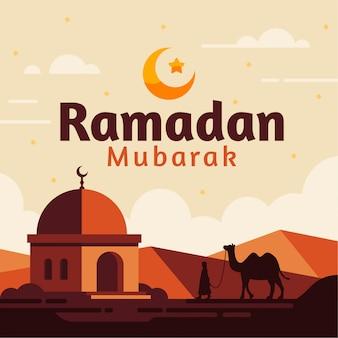 Fundo de ramadan mubarak com ilustração de mesquita plana camelo e deserto