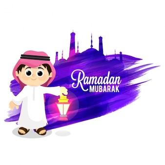 Fundo de ramadan mubarak com miúdo de sorriso