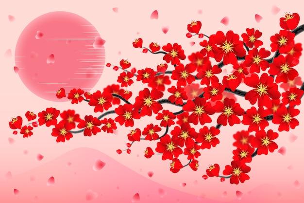 Fundo de ramo de cerejeira do japão