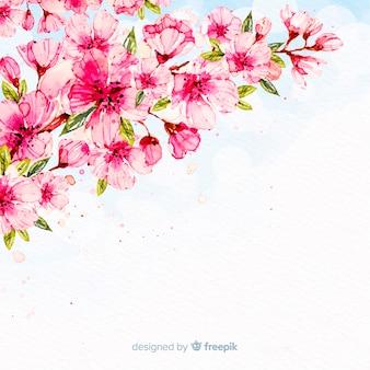 Fundo de ramo de flor de cerejeira em aquarela