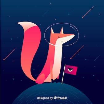 Fundo de raposa engraçado astronauta