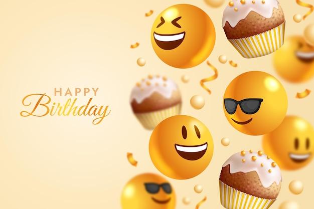 Fundo de reações emoji de feliz aniversário