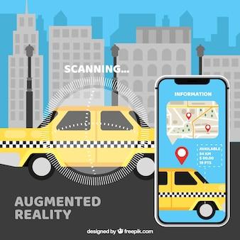 Fundo de realidade aumentada com dispositivo