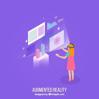 Fundo de realidade aumentada em estilo isométrico