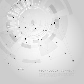 Fundo de rede com grande círculo linhas conectadas