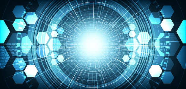 Fundo de rede de circuito digital futurista de olho de luz