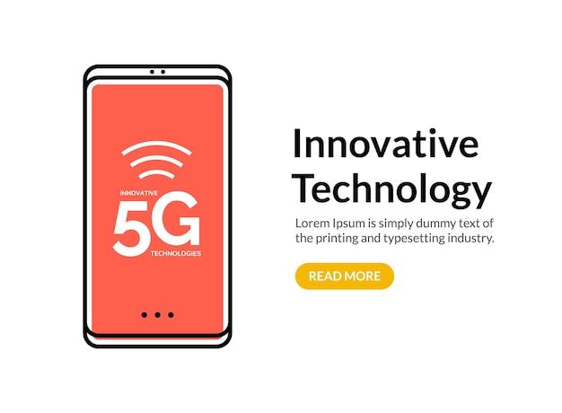 Fundo de rede de conexão de internet sem fio 5g. conceito de telefone móvel de comunicação de dados 5g de alta velocidade.