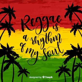 Fundo de reggae de silhuetas de palma