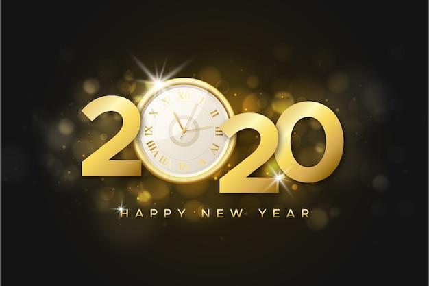 Fundo de relógio realista ano novo 2020