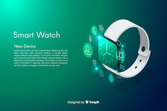 Fundo de relógio smarth isométrico