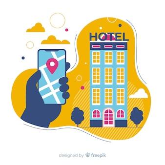 Fundo de reserva de hotel de silhueta de mão