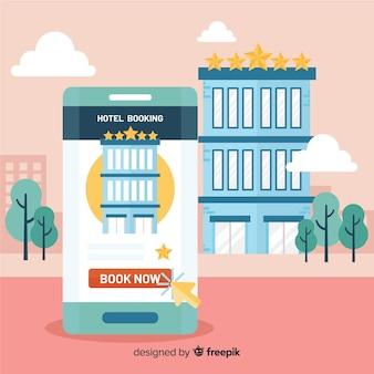 Fundo de reserva de hotel smartphone plana