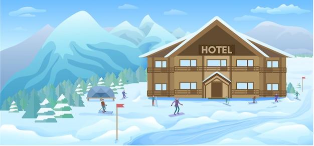 Fundo de resort de inverno