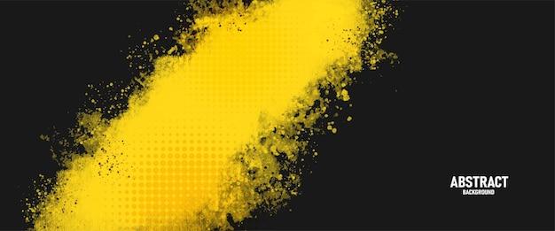 Fundo de respingos de textura grunge preto e amarelo