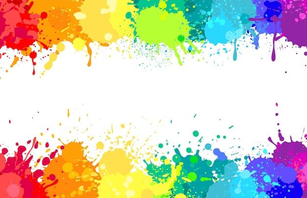 Fundo de respingos de tinta colorida, salpicos de arco-íris em spray colorido abstrato banner de explosão de vetor