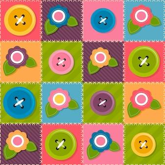 Fundo de retalhos com flores e botões de costura