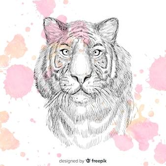 Fundo de retrato de tigre de lápis