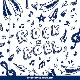 Fundo de rock and roll com esboços de notas musicais
