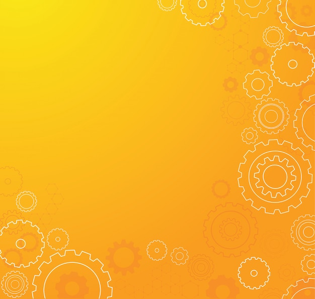 Fundo de roda laranja abstrata engrenagens
