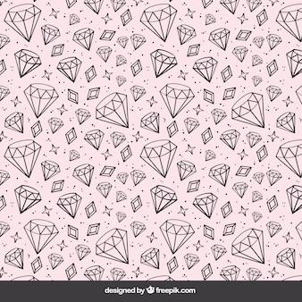 Fundo de rosa com mão desenhada diamantes