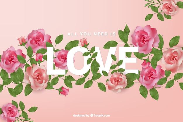 Fundo de rosas com palavra de amor