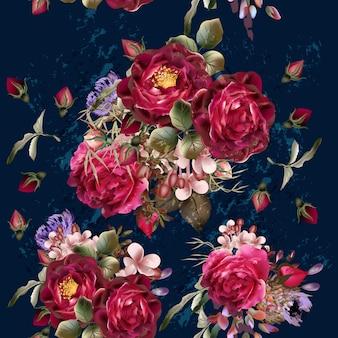 Fundo de rosas de aguarela
