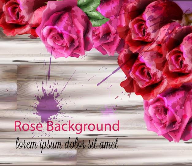 Fundo de rosas em aquarela