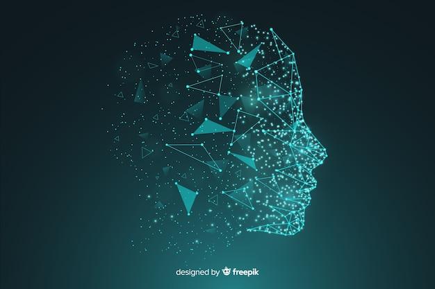 Fundo de rosto de inteligência artificial de partículas