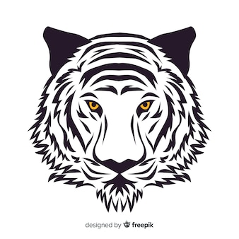 Fundo de rosto de tigre de mão desenhada