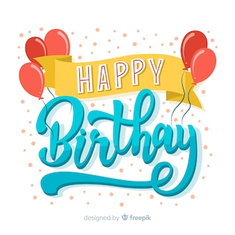 Fundo de rotulação criativa feliz aniversário