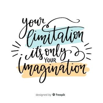 Fundo de rotulação de citação motivacional desenhada de mão