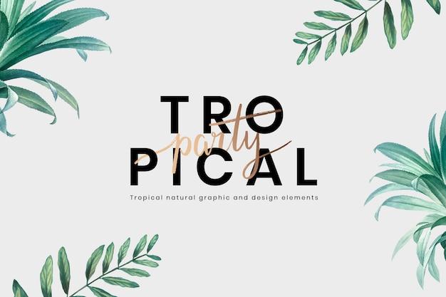 Fundo de rotulação de festa tropical