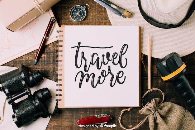 Fundo de rotulação de viagens com foto