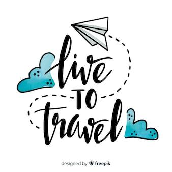 Fundo de rotulação de viagens de mão desenhada