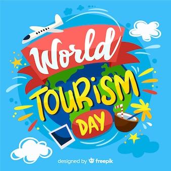Fundo de rotulação do dia mundial do turismo criativo