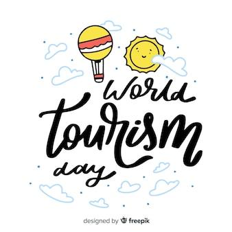 Fundo de rotulação do dia mundial do turismo
