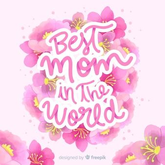 Fundo de rotulação floral do dia das mães