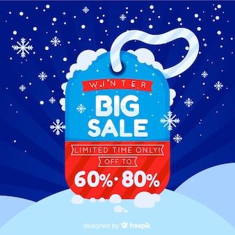 Fundo de rótulo de venda de inverno
