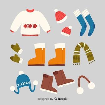 Fundo de roupas de inverno mão desenhada