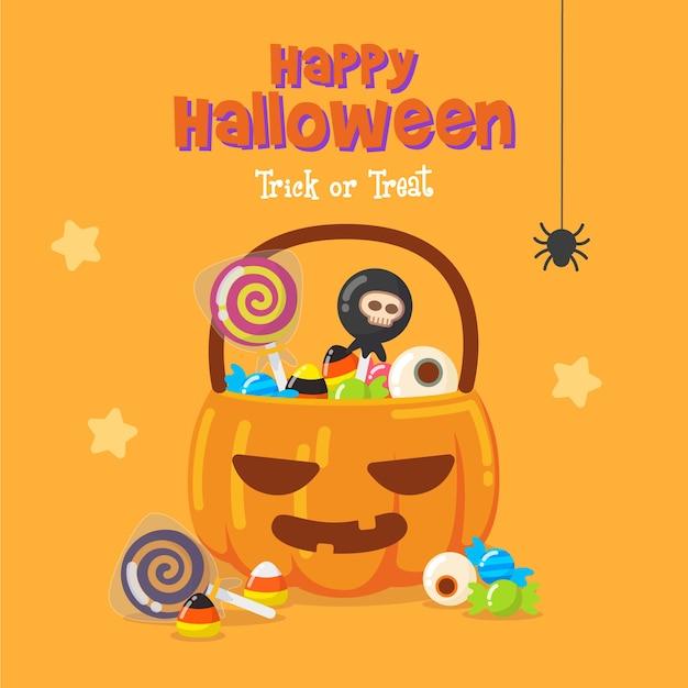 Fundo de saco de doces de abóbora de halloween