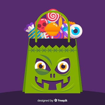 Fundo de saco de doces de halloween colorido em design plano